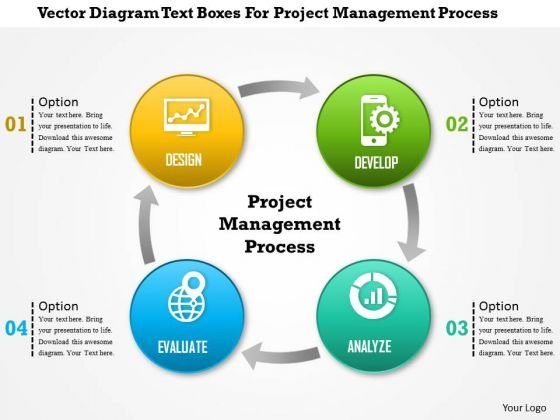Business Diagram Vector Diagram Text Boxes For Project Management Process Presentation Template