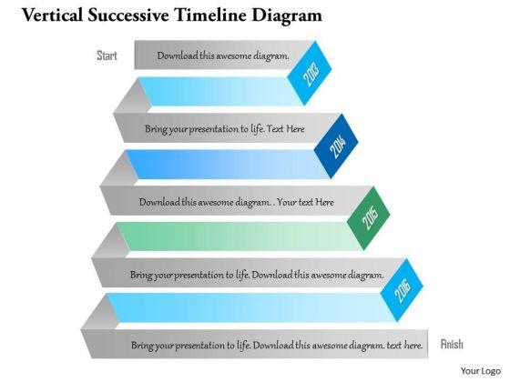 Business Diagram Vertical Successive Timeline Diagram PowerPoint Template