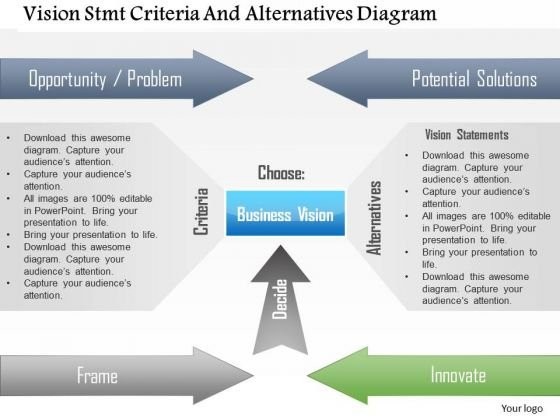 Business Diagram Vision Stmt Criteria And Alternatives Diagram Presentation Template