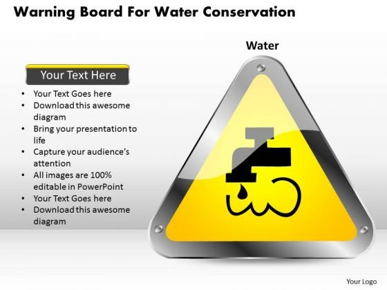 Business Diagram Warning Board For Water Conservation Presentation Template