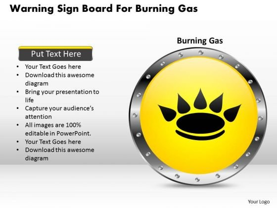 Business Diagram Warning Sign Board For Burning Gas Presentation Template