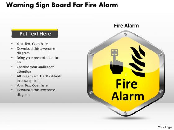 Business Diagram Warning Sign Board For Fire Alarm Presentation Template