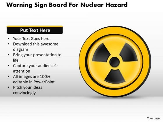 Business Diagram Warning Sign Board For Nuclear Hazard Presentation Template