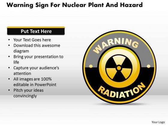 Business Diagram Warning Sign For Nuclear Plant And Hazard Presentation Template