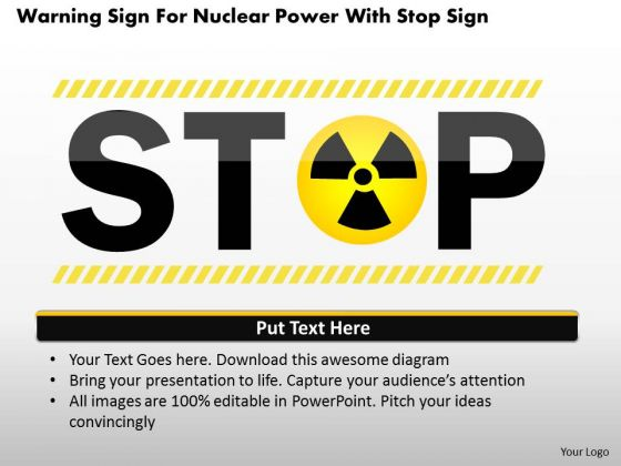 Business Diagram Warning Sign For Nuclear Power With Stop Sign Presentation Template