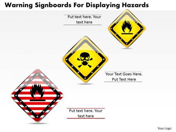 Business Diagram Warning Signboards For Displaying Hazards Presentation Template