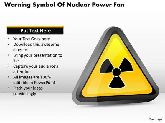 Business Diagram Warning Symbol Of Nuclear Power Fan Presentation Template