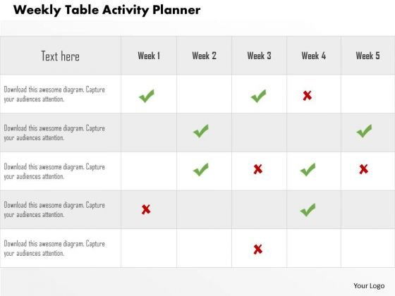 business diagram weekly table activity planner presentation, Presentation templates
