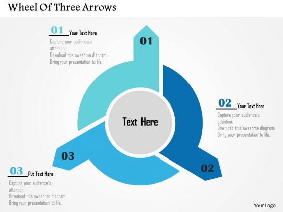 Business Diagram Wheel Of Three Arrows Presentation Template