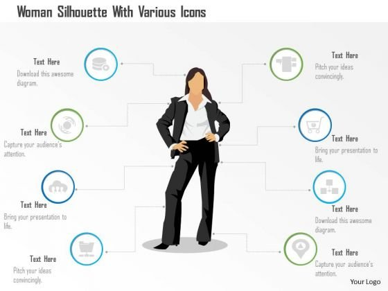 Business Diagram Woman Silhouette With Various Icons