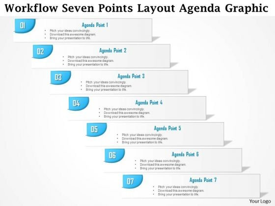 Business Diagram Workflow Seven Points Layout Agenda Graphic Presentation Template