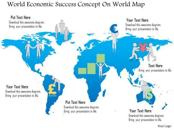 Business Diagram World Economic Success Concept On World Map Presentation Template