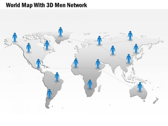 Business Diagram World Map With 3d Men Network Presentation Template