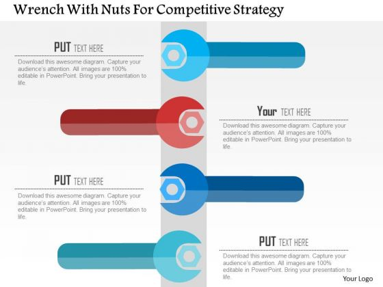 business diagram wrench with nuts for competitive strategy