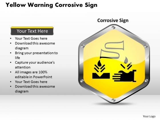 Business Diagram Yellow Warning Corrosive Sign Presentation Template