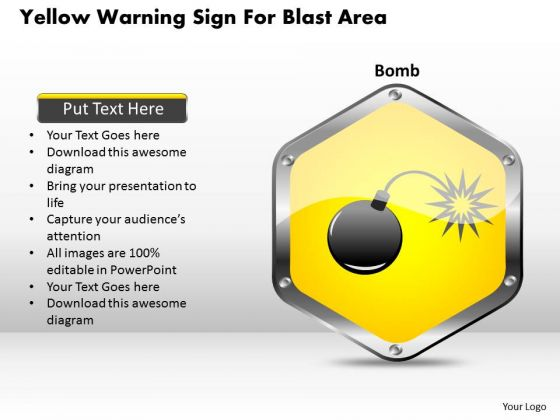 Business Diagram Yellow Warning Sign For Blast Area Presentation Template