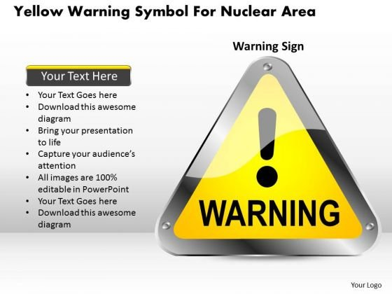 Business Diagram Yellow Warning Symbol For Nuclear Area Presentation Template