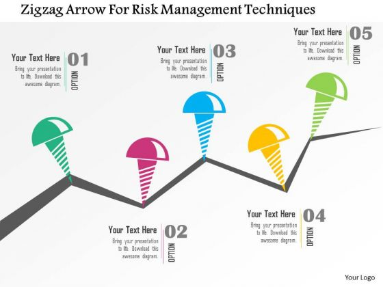 Business Diagram Zigzag Arrow For Risk Management Techniques Presentation Template