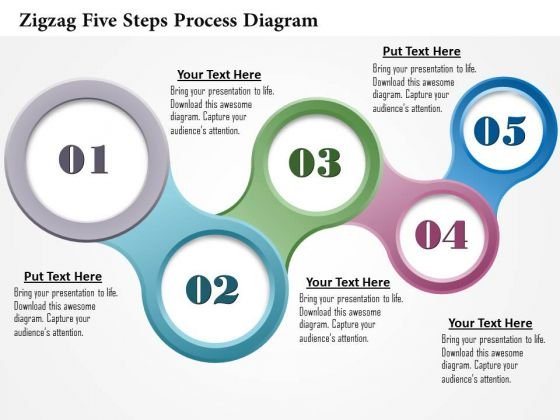 Business Diagram Zigzag Five Steps Process Diagram Presentation Template