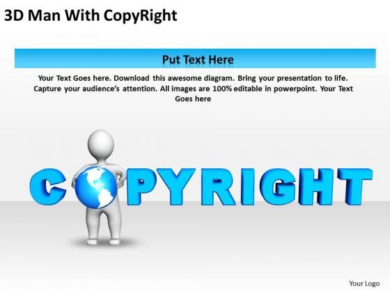 Business Diagrams 3d Man With Copyright PowerPoint Templates