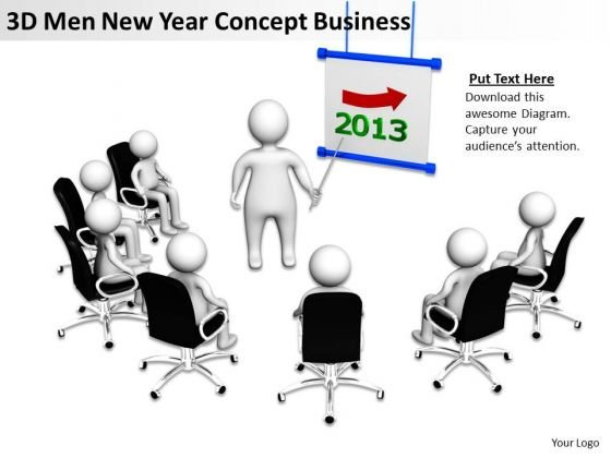 Business Diagrams 3d Men New Year Concept World PowerPoint Templates Slides