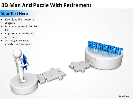 Business Diagrams Templates 3d Man And Puzzle With Retirement PowerPoint