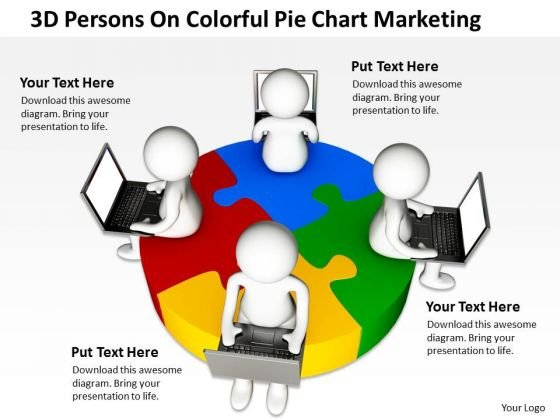 Business Diagrams Templates 3d Persons Colorful Pie Chart Marketing PowerPoint
