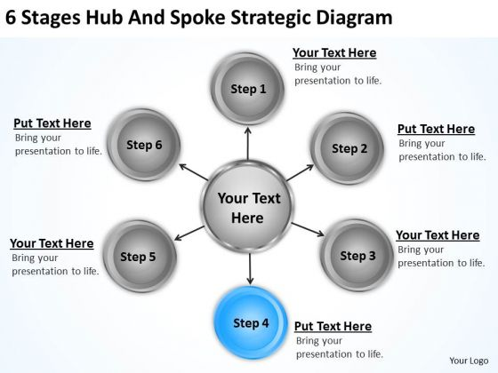 Business Diagrams Templates 6 Stages Hub And Spoke Strategic PowerPoint Slides