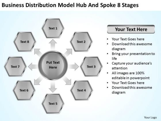 Business Distribution Model Hub And Spoke 8 Stages Ppt Plan Download PowerPoint Slides