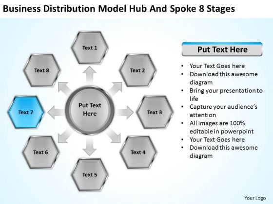 Business Distribution Model Hub And Spoke 8 Stages Ppt Plan Layouts PowerPoint Slides