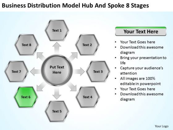 Business Distribution Model Hub And Spoke 8 Stages Ppt Plan PowerPoint Slides