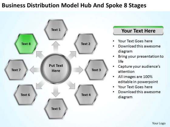 Business Distribution Model Hub And Spoke 8 Stages Ppt Plan PowerPoint Templates