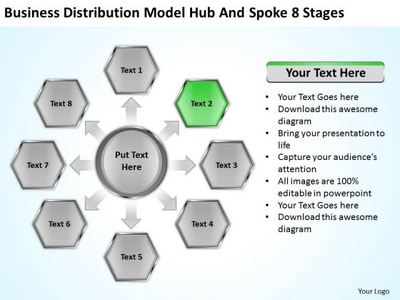 Business Distribution Model Hub And Spoke 8 Stages Ppt Service Plan PowerPoint Slides