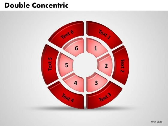 Business Editable PowerPoint Templates Business 3d Double Concentric Rings Pieces Ppt Slides