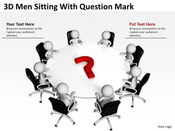 Business Entity Diagram 3d Men Sitting With Question Mark PowerPoint Slides