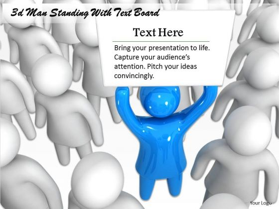 Business Expansion Strategy 3d Man Standing With Text Board Character