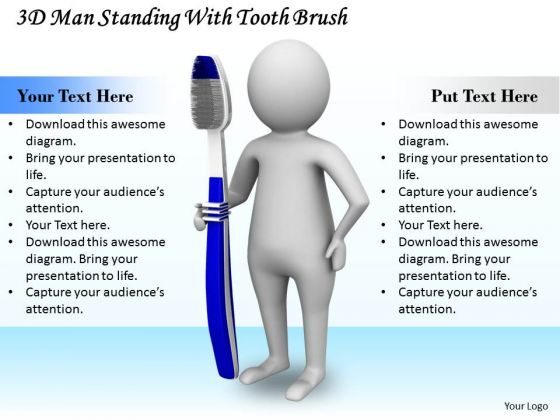 Business Expansion Strategy 3d Man Standing With Tooth Brush Adaptable Concepts