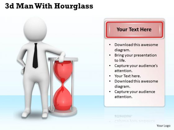 Business Expansion Strategy 3d Man With Hourglass Adaptable Concepts