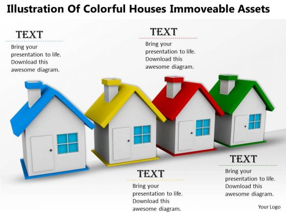 Business Expansion Strategy Illustration Of Colorful Houses Immoveable Assets Pictures