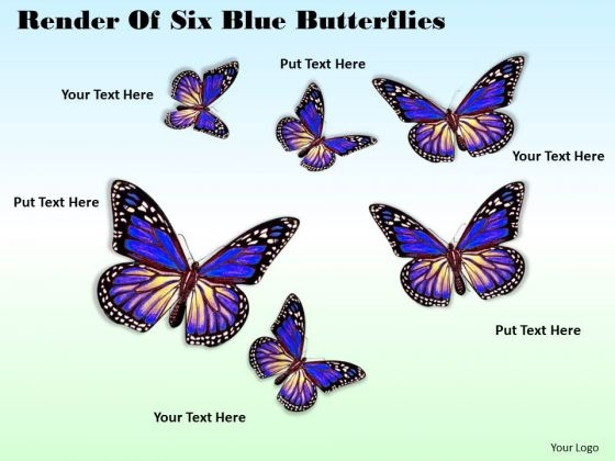 Business Expansion Strategy Render Of Six Blue Butterflies Pictures Images