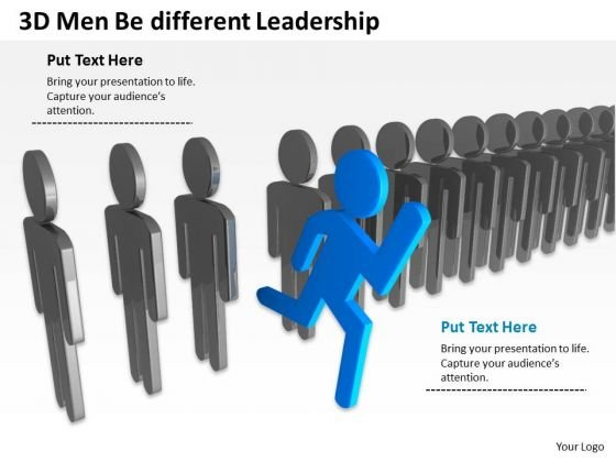 Business Flow Chart 3d Men Be Different Leadership PowerPoint Slides