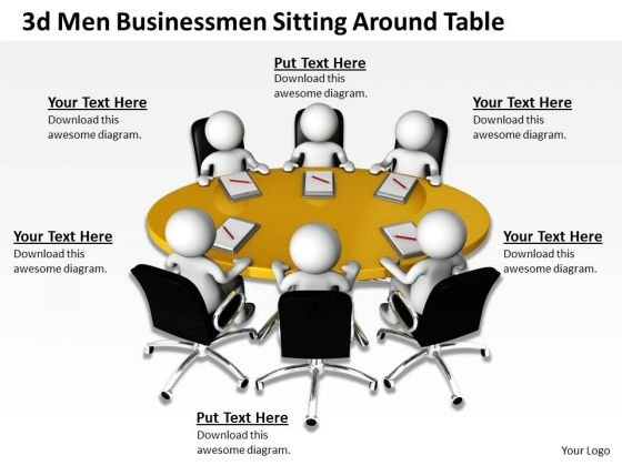 Business Flow Chart 3d Men Businessmen Sitting Around Table PowerPoint Slides