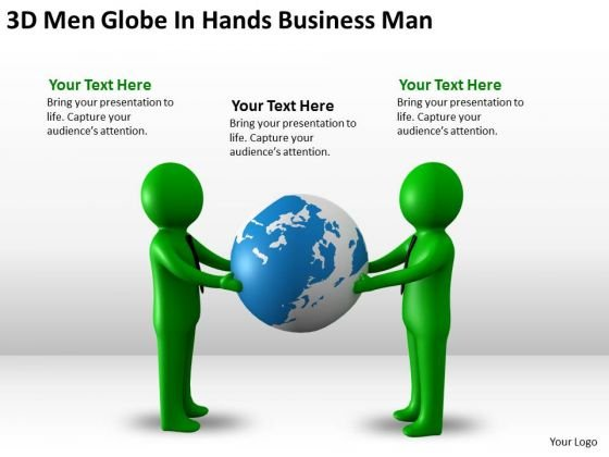 Business Flow Chart 3d Men Globe Hands PowerPoint Presentation Man Slides