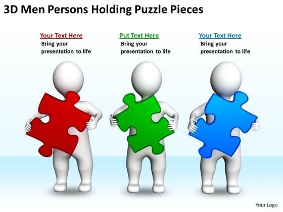 Business Flow Chart 3d Men Persons Holding Puzzle Pieces PowerPoint Templates