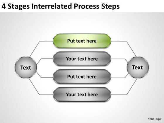 Business Flow Chart 4 Stages Interrelated Process Steps PowerPoint Slides