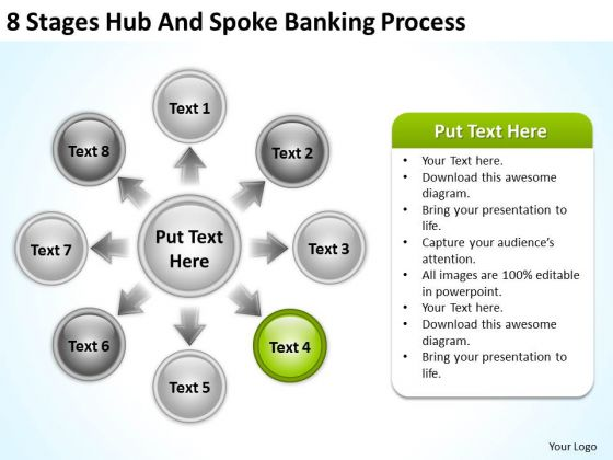 Business Flow Charts Examples 8 Stages Hub And Spoke Banking Process Ppt PowerPoint Templates