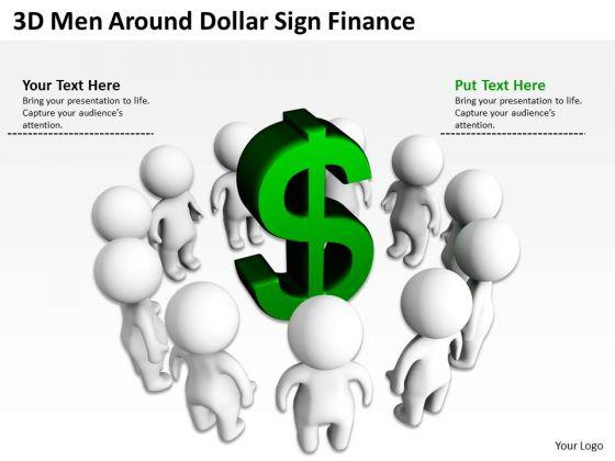 Business Flow Diagram 3d Men Around Dollar Sign Finance PowerPoint Templates