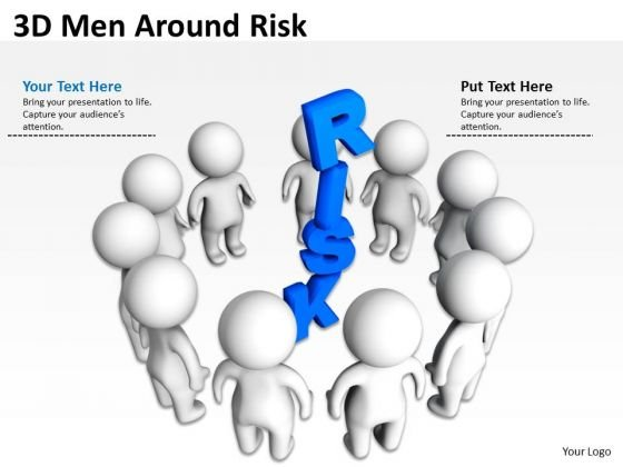 Business Flow Diagram 3d Men Around Risk PowerPoint Templates