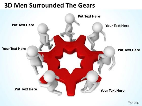 Business Flow Diagram Example 3d Men Surrounded The Gears PowerPoint Slides