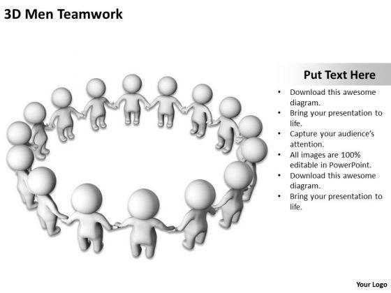 Business Flow Diagram Example 3d Men Teamwork PowerPoint Slides